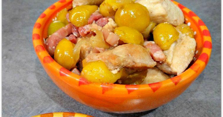Emincé de poulet aux mirabelles et sa semoule