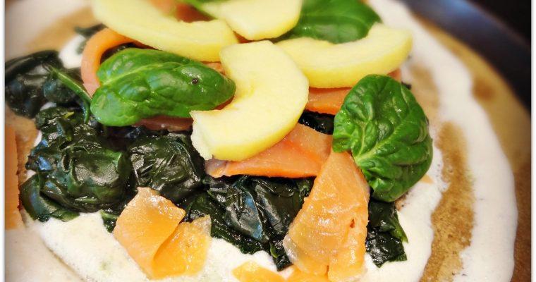 Galette de sarrasin au saumon fumé et aux épinards