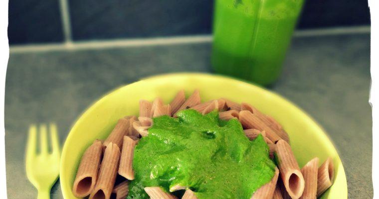 Pennes au sarrasin sauce épinards (sans gluten et sans caséine)