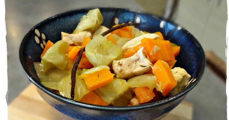 Poelée de poulet et carottes à la vanille