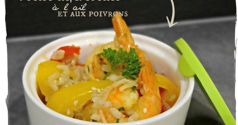 Poêlée de crevettes à l'ail et aux poivrons