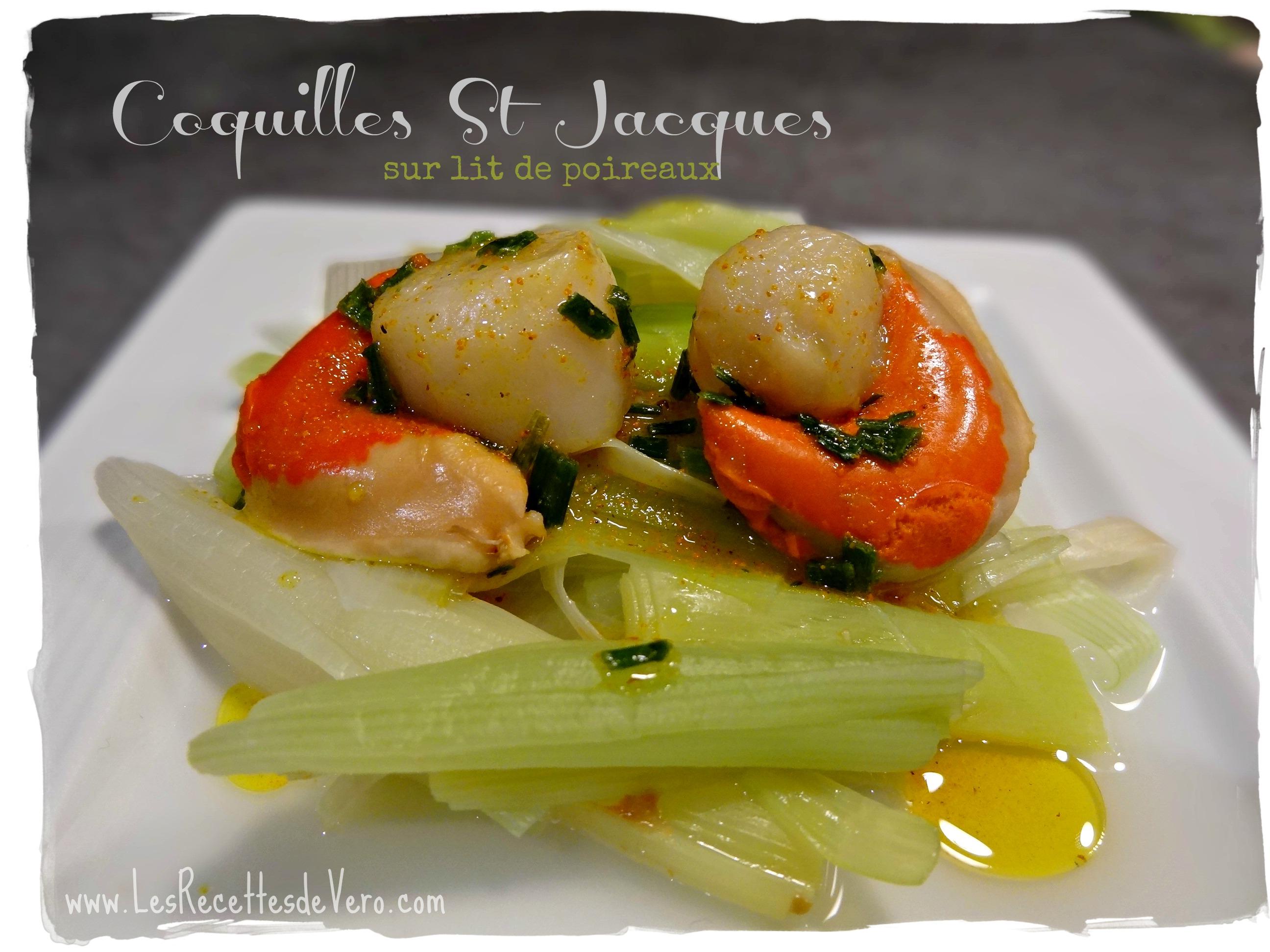 coquilles St Jacques sur lit de poireaux