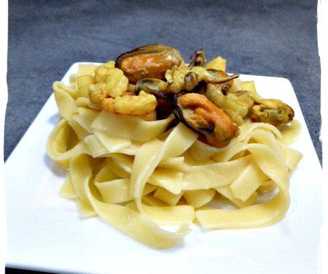 Poêlée de fruits de mer et ses tagliatelles sans gluten