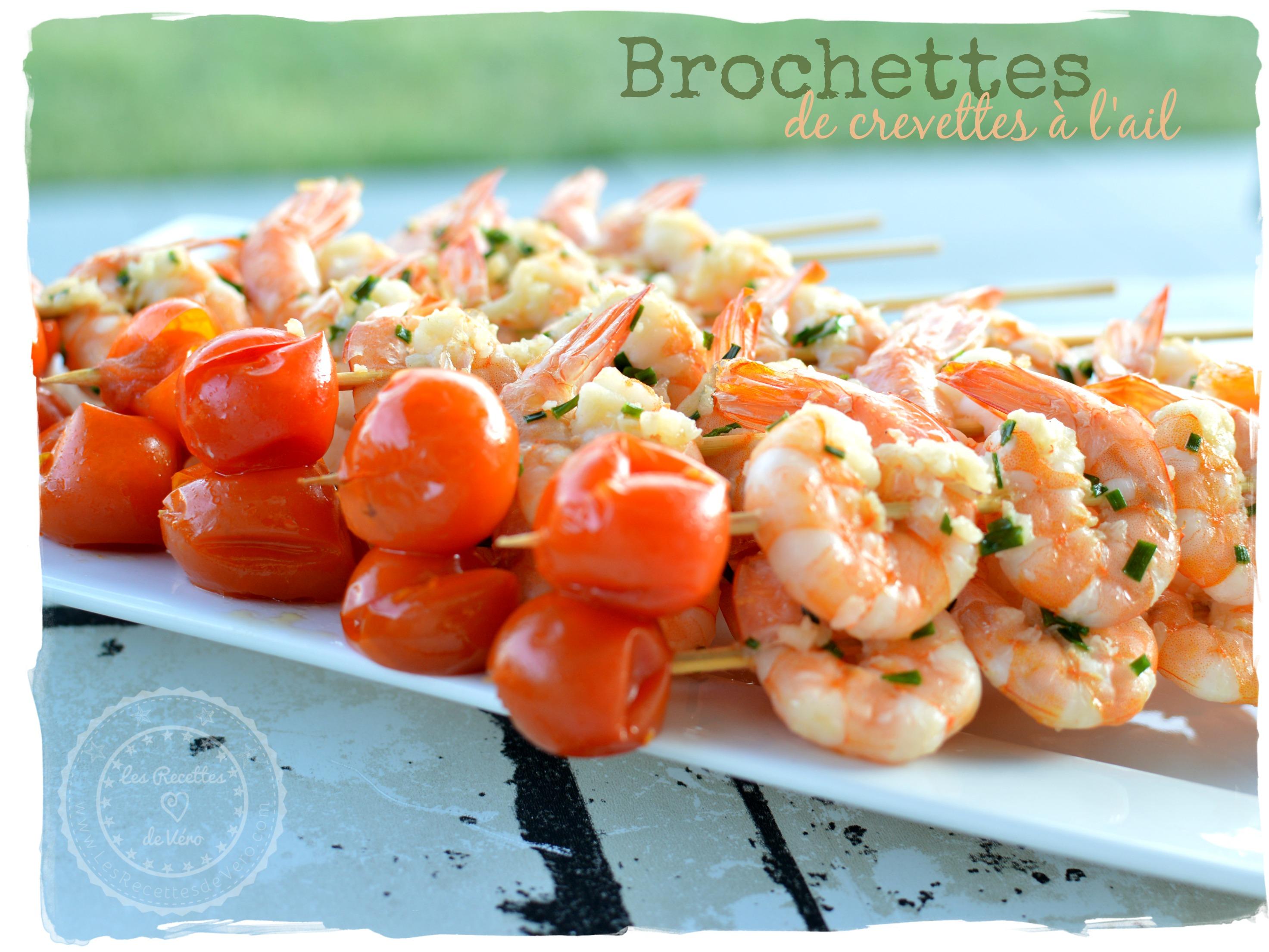 brochettes de crevettes à l'ail