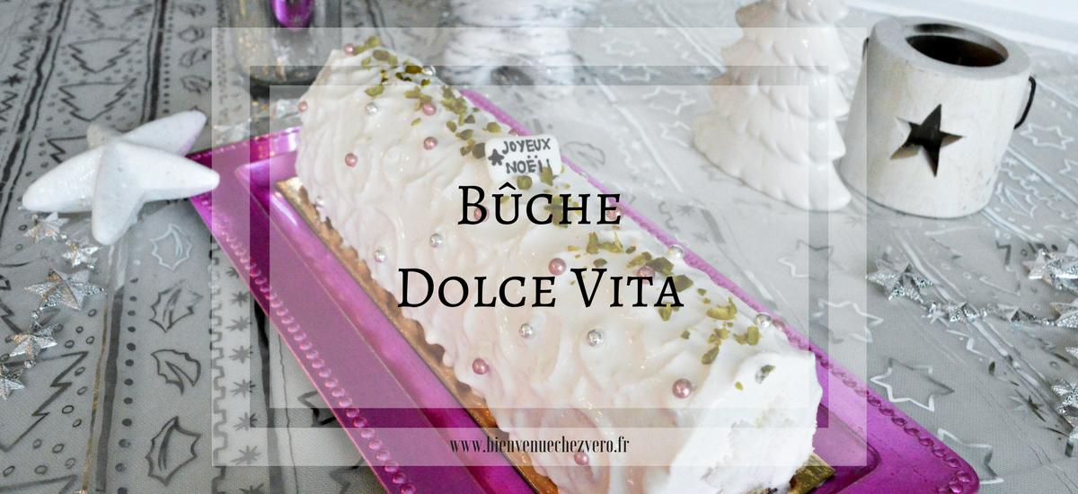 Bûche Dolce Vita – Pistache, amande et cerises griottes
