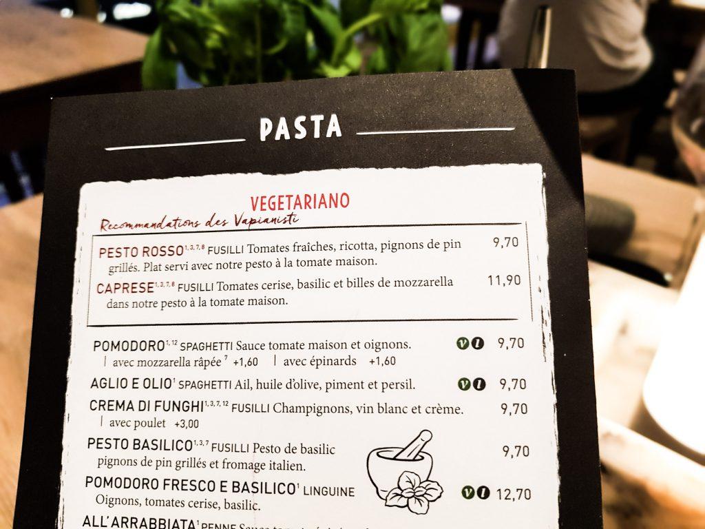 Bienvenue chez Vero - Chez vapiano Metz on mange aussi végétarien - menu
