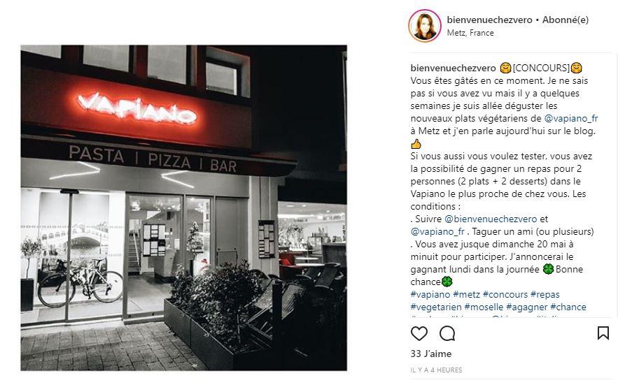 Bienvenue chez vero - Concours instagram Vapiano Metz Végétarien