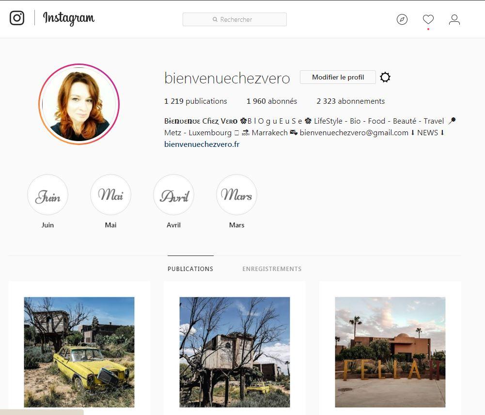 Bienvenue chez vero - Profil instagram
