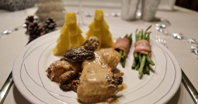 Repas de fête : La poularde au vin jaune et aux morilles
