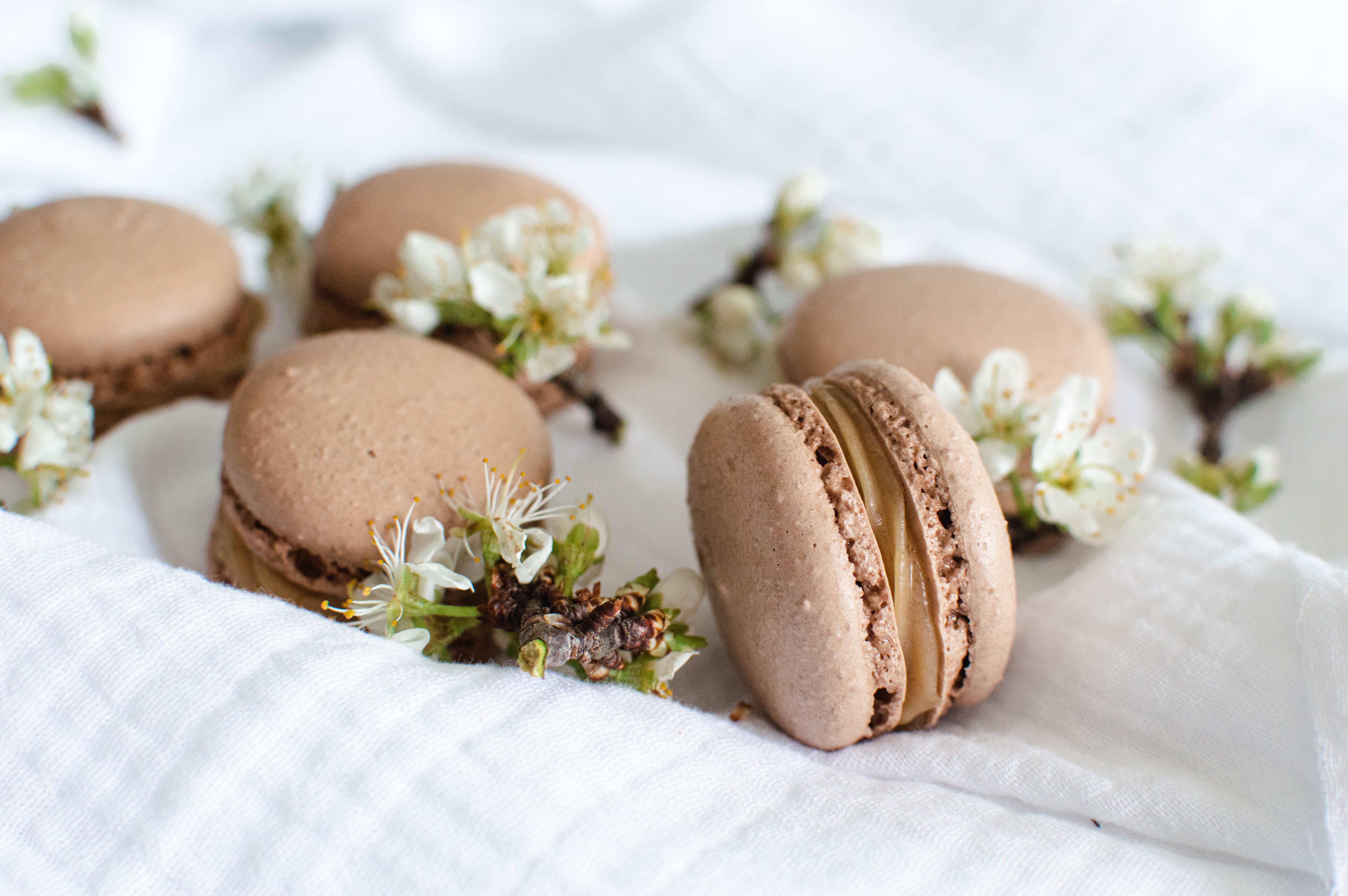 Coques de  macarons cacaotées
