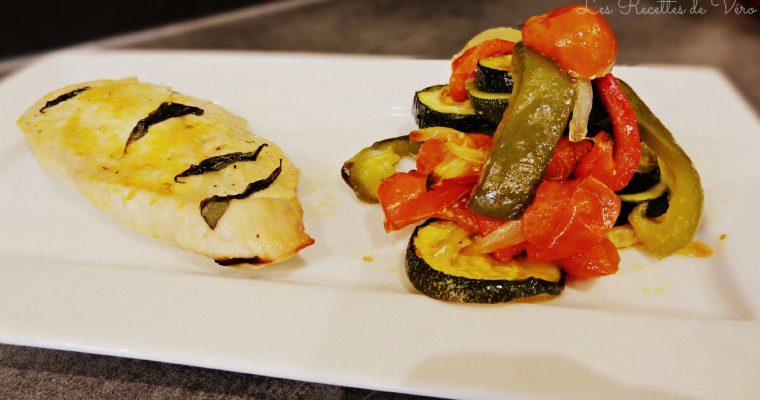 Blancs de poulet et légumes rôtis au basilic