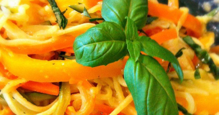 Spaghettis à la carbonara de légumes