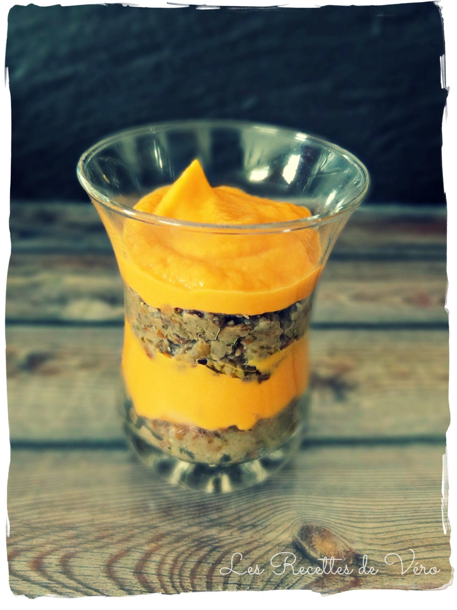 Verrines apéritives carottes-lentillade
