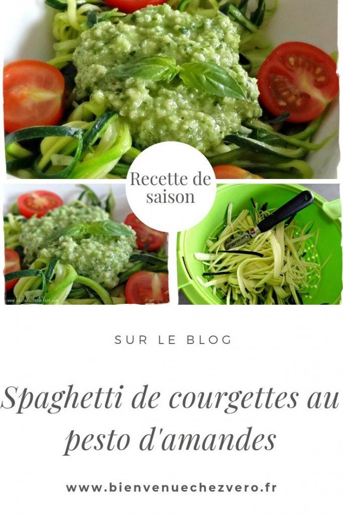 Spaghetti de courgettes au pesto d'amandes - Bienvenue chez Vero