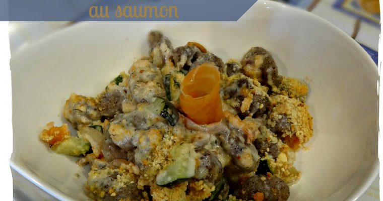 Gratin de gnocchis au sarrasin et saumon