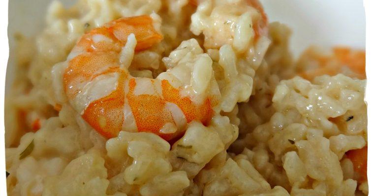 Risotto aux crevettes, coco, curry et citron vert