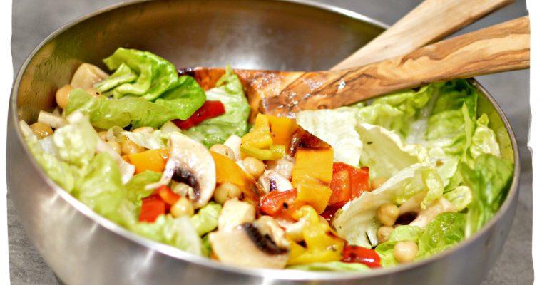 Salade de champignons, poivrons et pois chiche
