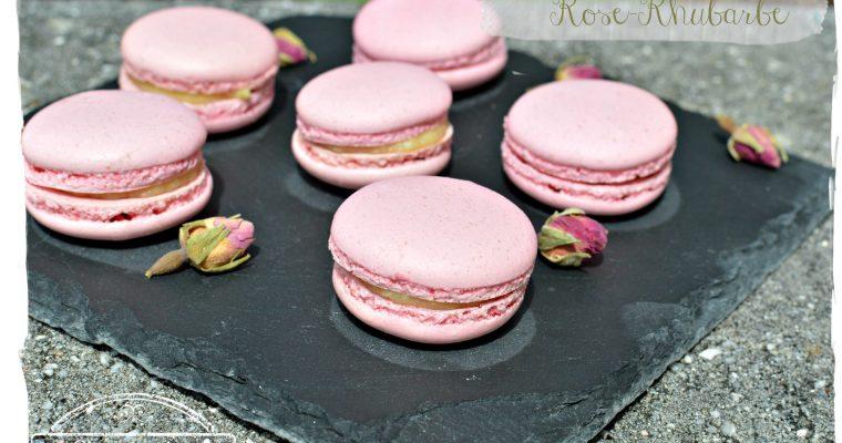 Macarons rose-rhubarbe
