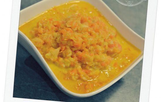 Compotée de carottes, poireaux au lait de coco
