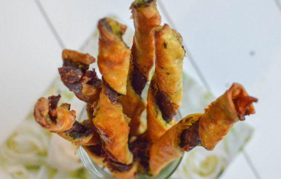 Bâtonnets feuilletés au jambon-pesto sans gluten