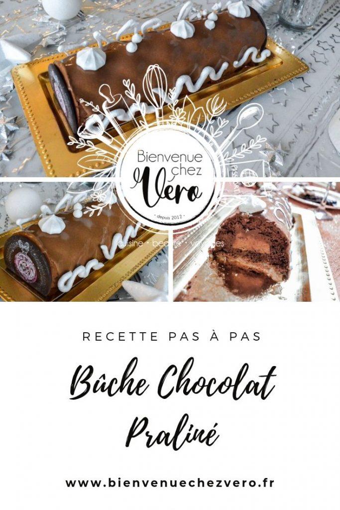 Recette pas à pas de la Bûche chocolat Praliné - Bienvenue chez vero