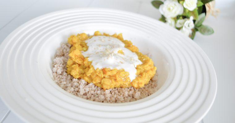 Lentilles corail à la noix de coco – Couscous de sarrasin