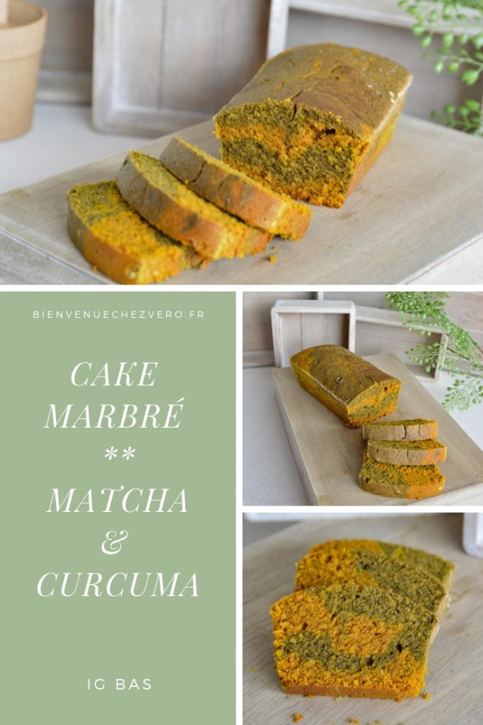 Cake marbré matcha curcuma IG Bas - Omnicuiseur - Bienvenue chez vero PIN IT