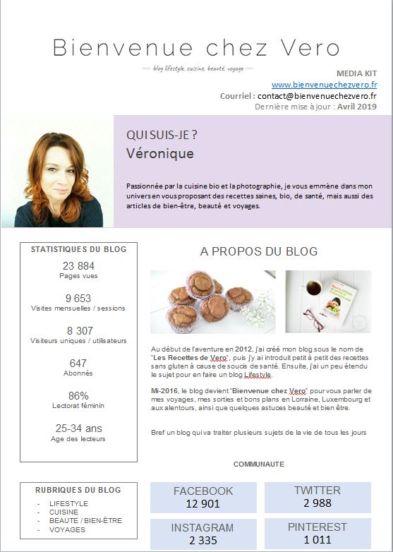 media kit Bienvenue chez Vero Avril 2019 1