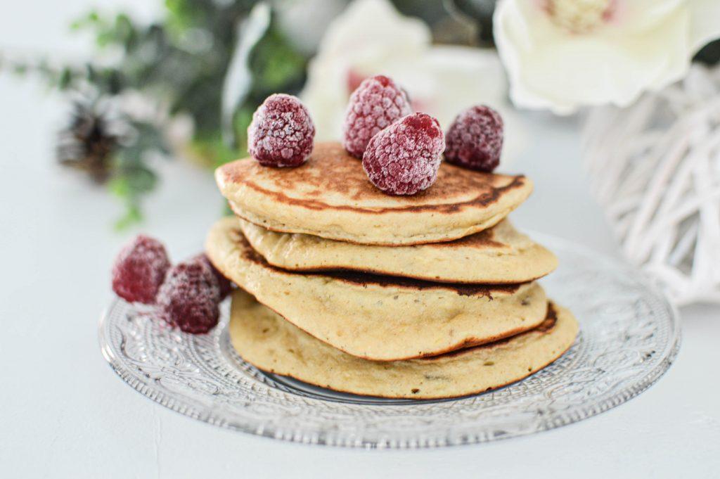 pancakes avec framboises