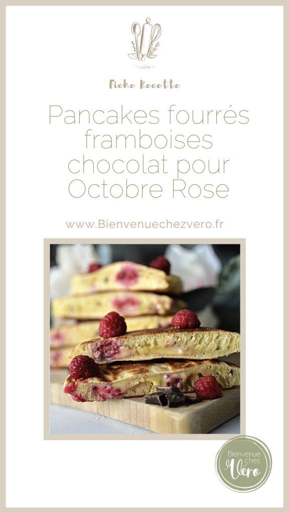 Pancake fourrés framboises chocolat pour octobre rose - Pinterest