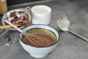 Préparation de la crème au chocolat