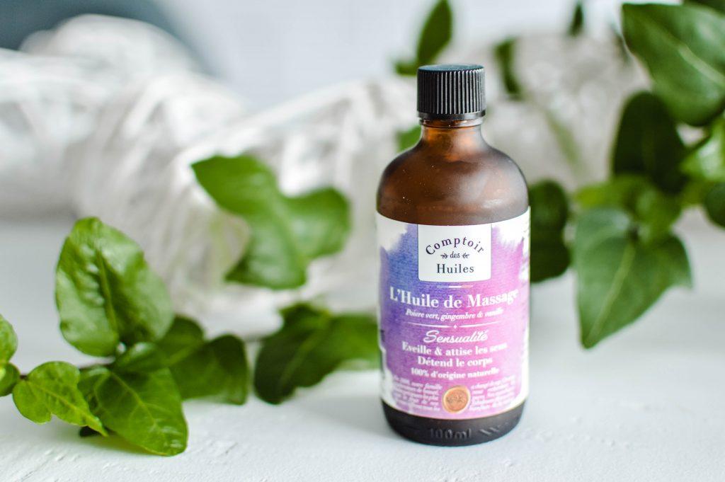Huile de massage Sensualité bio du comptoir des huiles - St valentin