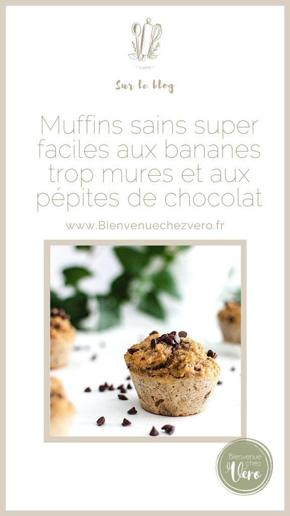 muffins sains et super faciles aux bananes trop mûres et aux pépites de chocolat